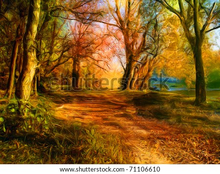 Landscape painting showing all the beauty of natures colors. - stock photo