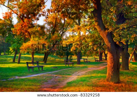 Landscape painting showing beautiful autumn colors in the park. - stock photo