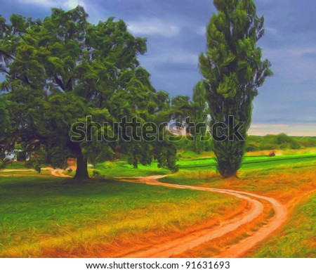 Landscape painting showing beautiful countryside scene on cloudy autumn day. - stock photo