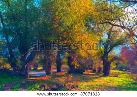 Landscape painting showing beautiful old forest on sunny autumn day. - stock photo