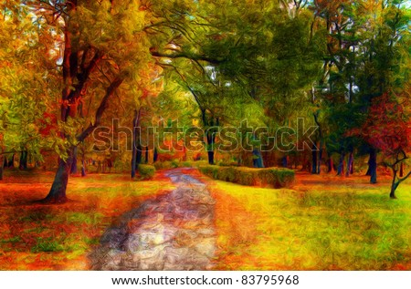 Landscape painting showing beautiful park in the autumn.