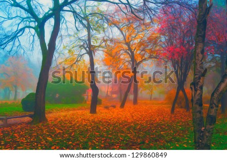 Landscape painting showing beautiful park on misty autumn day. - stock photo