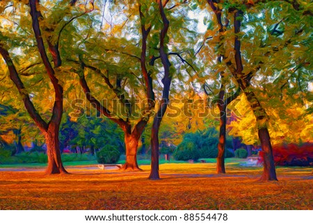 Landscape painting showing beautiful park on sunny autumn day. - stock photo