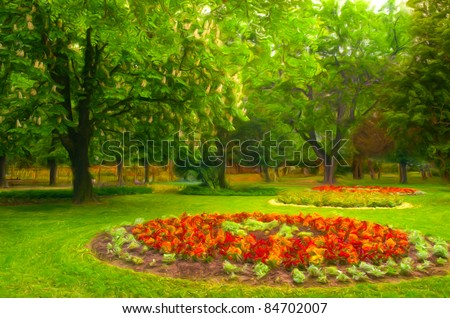 Landscape painting showing beautiful park with flower garden. - stock photo
