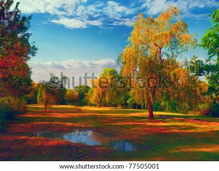 Landscape painting showing colorful park on the sunny autumn day. - stock photo
