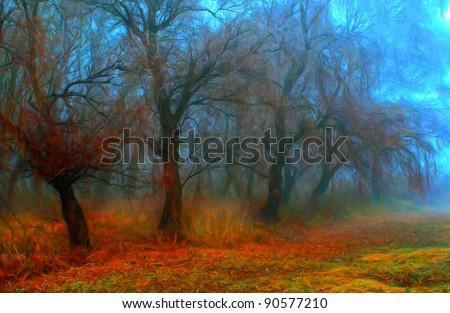 Landscape painting showing creepy colorful forest on foggy autumn day - stock photo