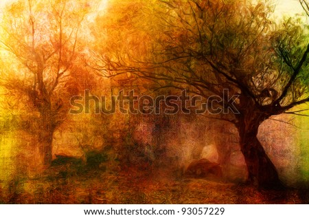Landscape painting showing creepy forest on dark autumn day. - stock photo