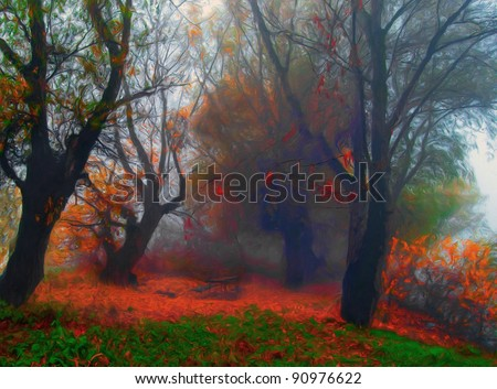 Landscape painting showing creepy old forest on misty autumn day. - stock photo