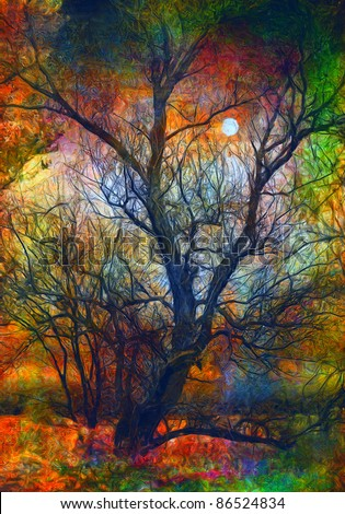 Landscape painting showing dead tree and the moon on spooky autumn night. - stock photo