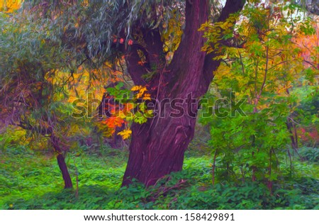 Landscape painting showing deep forest on autumn day. - stock photo