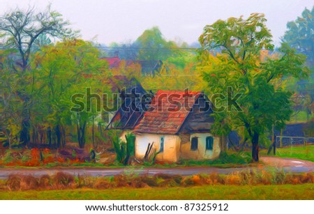 Landscape painting showing demolished house in the village on cloudy autumn day. - stock photo