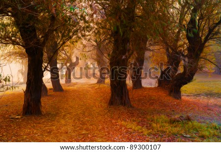 Landscape painting showing forest on the foggy autumn day. - stock photo