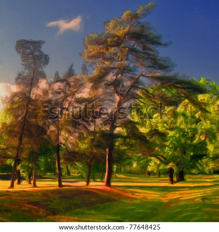 Landscape painting showing forest trees on the beautiful sunny day. - stock photo