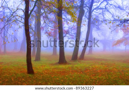 Landscape painting showing misty forest on dark autumn day. - stock photo