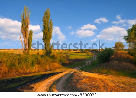 Landscape painting showing old country road and tall trees on the sunny summer day. - stock photo