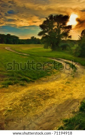 Landscape painting showing old road curving around lonely tree on sunset. - stock photo