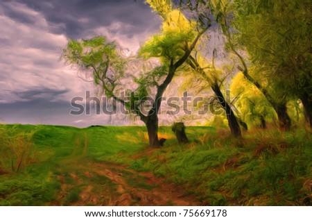 Landscape painting showing road that leads beside the old forest on cloudy day. - stock photo