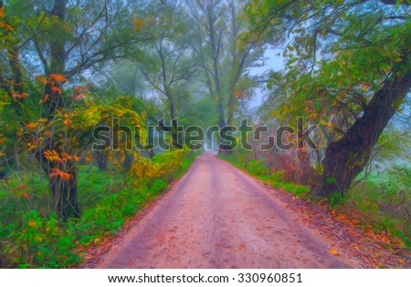 Landscape painting showing road through forest on beautiful autumn day.