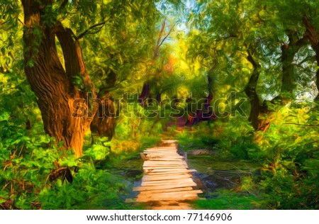 Landscape painting showing small wooden bridge that leads over small stream and through the forest. - stock photo