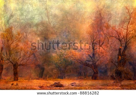 Landscape painting showing spooky forest on misty autumn day. - stock photo