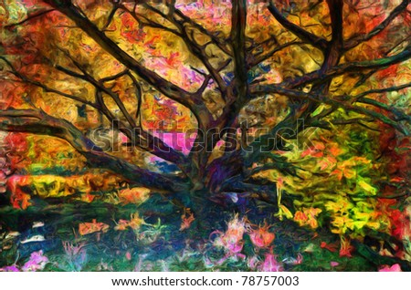 Landscape painting showing tree in the park surrounded with unusual colors. - stock photo