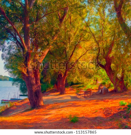 Landscape painting showing trees on the river shore on sunny autumn day. - stock photo