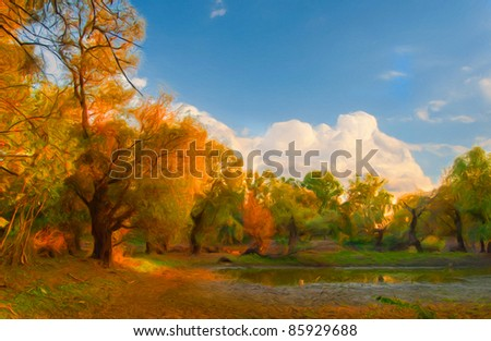 Landscape painting showing wild forest on sunny autumn day. - stock photo