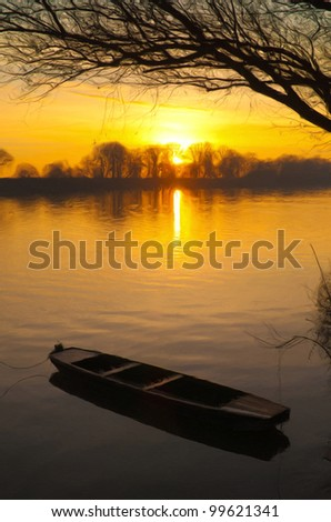 Landscape painting showing wooden boat on the river at summer sunrise. - stock photo