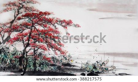 Landscape painting.Traditional Chinese Painting. - stock photo