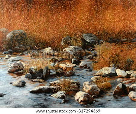 Landscape painting with rocks and bushes by the river - stock photo
