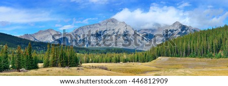 Landscape panorama of Banff National Park in Canada with snow capped mountain
