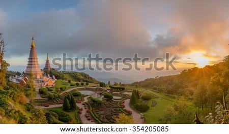 Landscape panorama of two pagoda (noppha methanidon-noppha phon phum siri stupa) in an Inthanon mountain, chiang mai, Thailand - stock photo