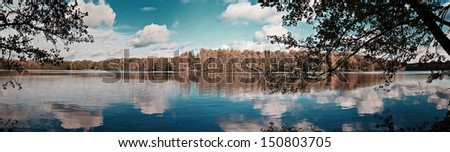 Landscape Panorama Shot of Lake Liepnitzsee, Germany - stock photo