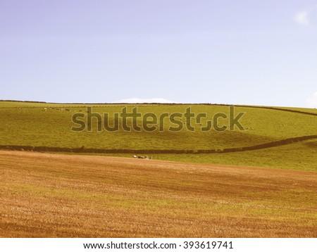 Landscape panorama view of Cardross hills near Glasgow, Scotland vintage - stock photo