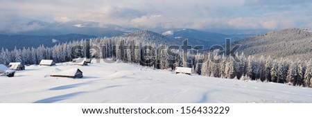Landscape panorama winter mountains. Carpathians, Ukraine - stock photo