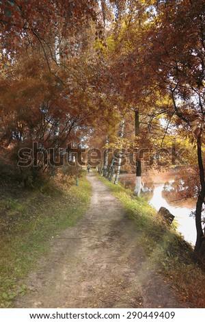 landscape park in the city autumn - stock photo
