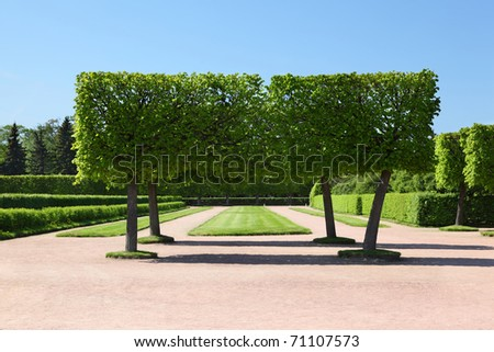 Landscape park of Peterhof, Saint-Petersburg, Russia - stock photo