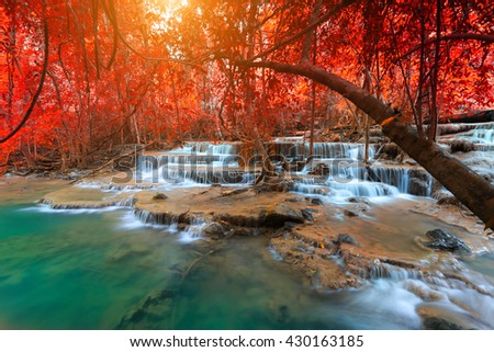 Landscape photo, Huay Mae Kamin Waterfall, beautiful waterfall in rainforest at Kanchanaburi province, Thailand - stock photo