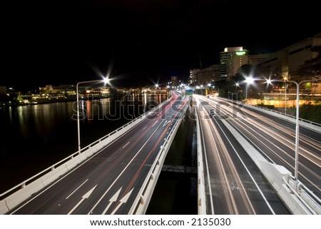 landscape photo of brisbane city expressway by night