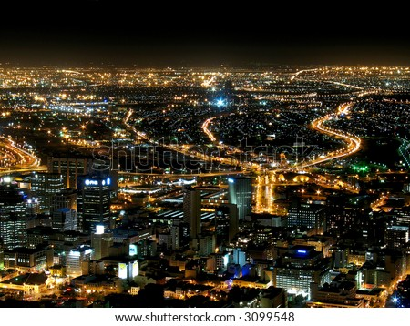 Landscape photo of Cape Town at night.