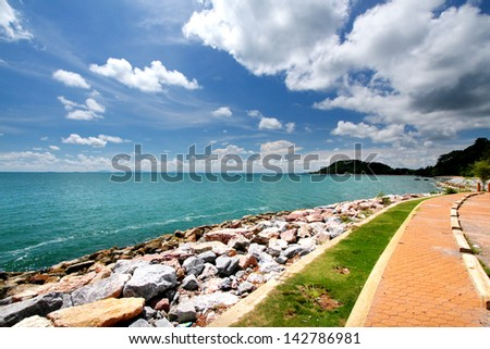 Landscape photo of the tops of a clump of trees & the way in chanthaburi province, Thailand - stock photo
