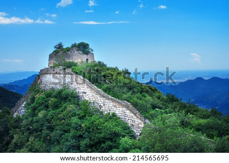 Landscape photo of the wild Great Wall under blue clear sky, the Jiankou section, the most beautiful part