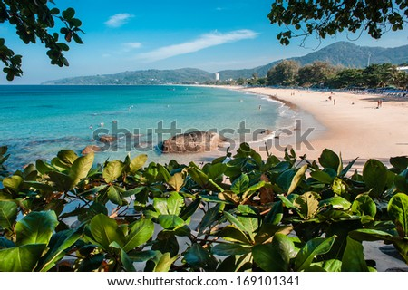 Landscape photo of tranquil island beach in the morning time, island of Phuket, Thailand