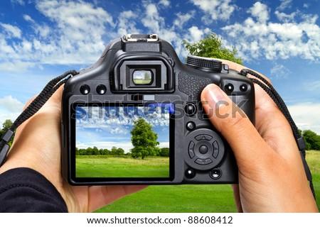 Landscape photography by DSLR camera - stock photo