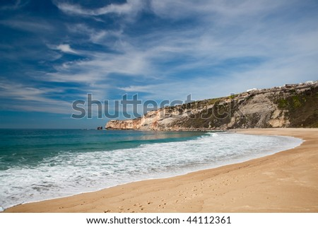 Landscape picture of the beautiful beach from Nazare, Portugal