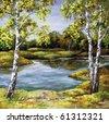 Landscape, picture oil paints on a canvas: birches on coast, autumn - stock photo