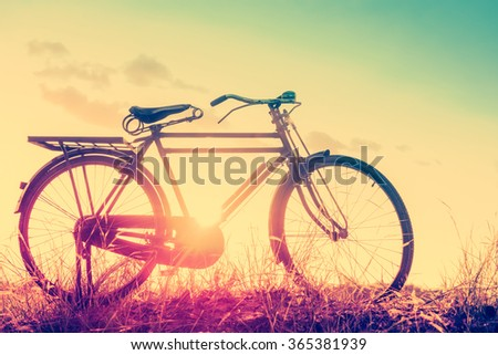 Landscape picture Vintage Bicycle with Summer grass field at sunset ; vintage filter style.classic bicycle,old bicycle style for greeting Cards ,post card - stock photo