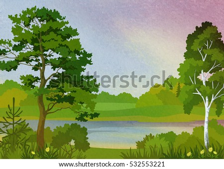 Landscape, Pine, Fir and Birch Trees, Grass and Flowers on the Shore of a Lake on Hand-Draw Pastel Painting Background