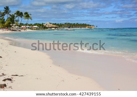 landscape punta cana tropical island with coconut palms and white beaches of the Dominican Republic - stock photo