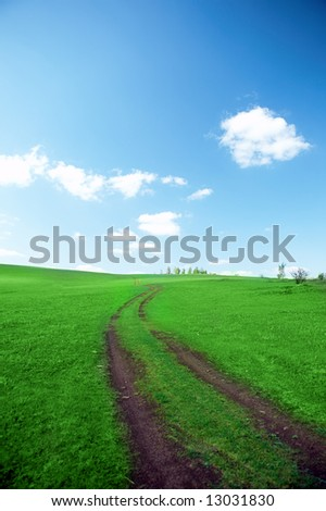 landscape road in field with green grass under blue sky